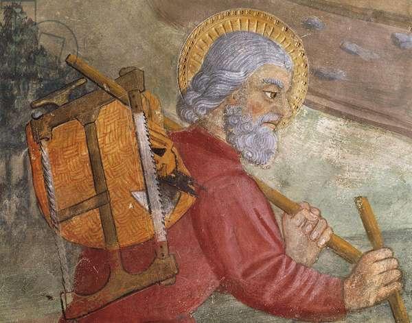 St Joseph, detail from Flight into Egypt, 14th-15th century fresco, St Peter's Church, Avigliana, Italy, 10th-11th century