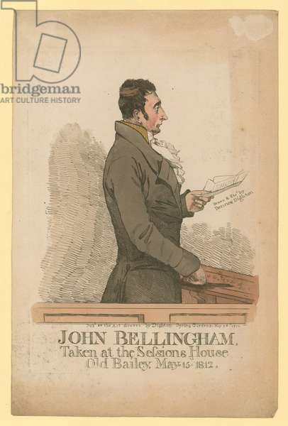 John Bellingham, taken at the Sessions House, Old Bailey, 15 May 1812 (coloured engraving)