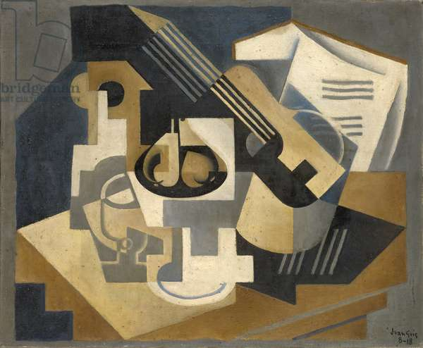Guitar and Fruit Bowl on a Table, 1918 (oil on canvas)