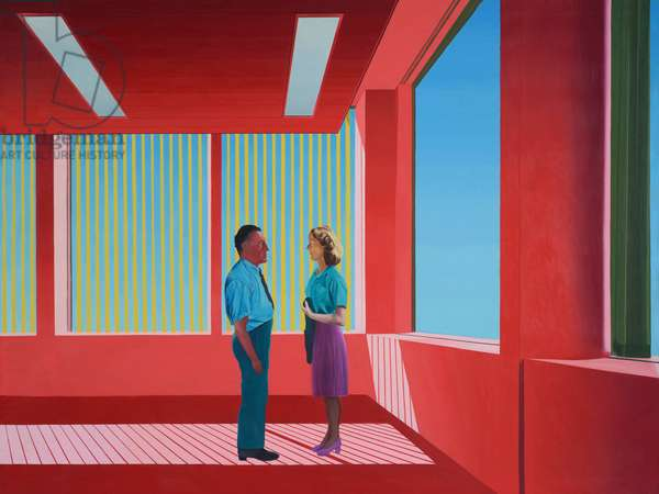 Man and Woman in Red Room, 1973 (oil on canvas)