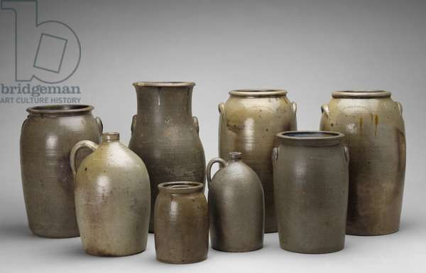 Group of Jars and a Churn, Guadalupe County, Texas, 1872-84 (salt-glazed stoneware)