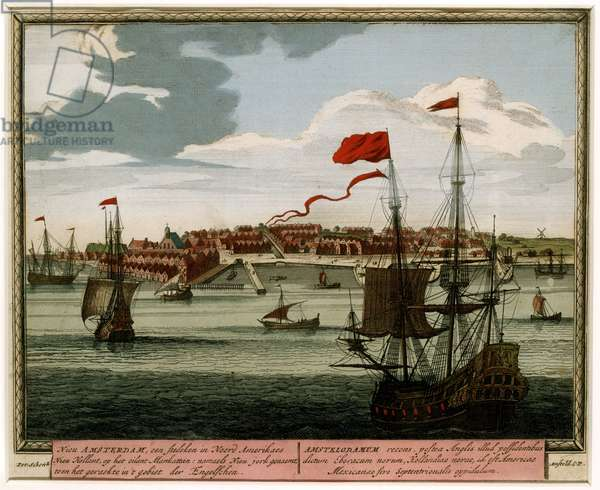 New Amsterdam from the Water, 1702 (hand-coloured engraving)