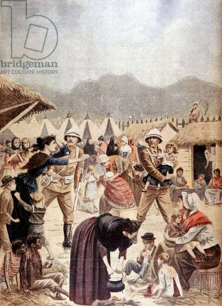 Boer War: Boer women and children in a British concentration camp in the Transvaal. From Le Petit Journal Paris 13 October 1901.