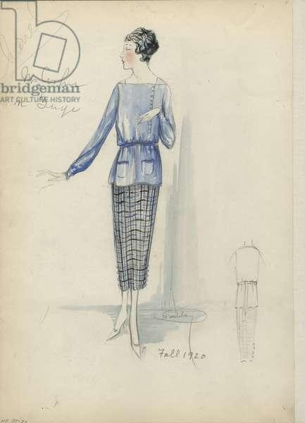 Day Ensemble, Chanel, Fall 1920 (pencil & w/c on paper)