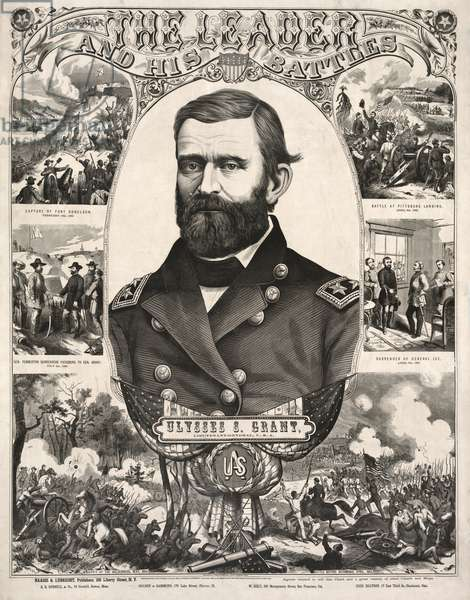 Ulysses S. Grant, Lieutenant-General, USA, Head and Shoulder Portrait, Wearing Military Uniform, with Scenes of Battles from American Civil War, Published by Haasis & Lubrecht, 1866 (litho)
