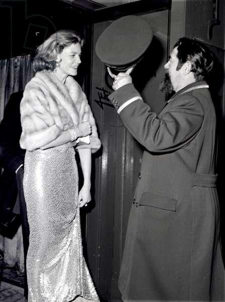 Lauren Bacall and Doorman Tom, Society Restaurant, London, UK, 1956