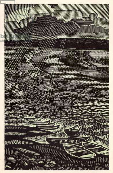 The Enisey River, 1969 (linocut)