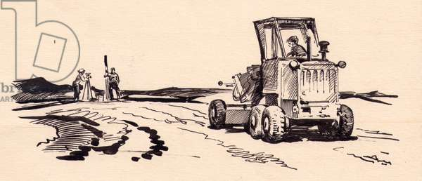 Measuring the Land, 1970s (indian ink on paper)