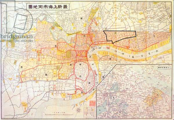 China: Map of Shanghai showing the area of the Shanghai Ghetto or 'Restricted Sector for Jewish Refugees' (1939).