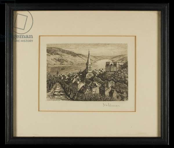 Bacharach on the Rhine (etching)