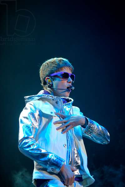 Justin Bieber performing at the NIA