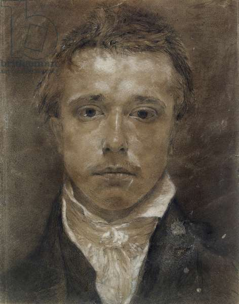 Self-portrait, c.1824 (black chalk, heightened with white, on buff paper)