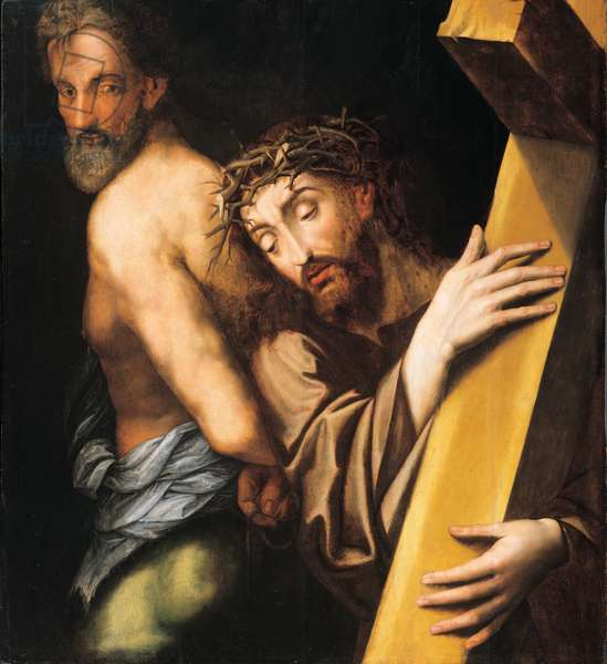 Christ carrying the Cross with the good thief, 1580 (oil on panel)