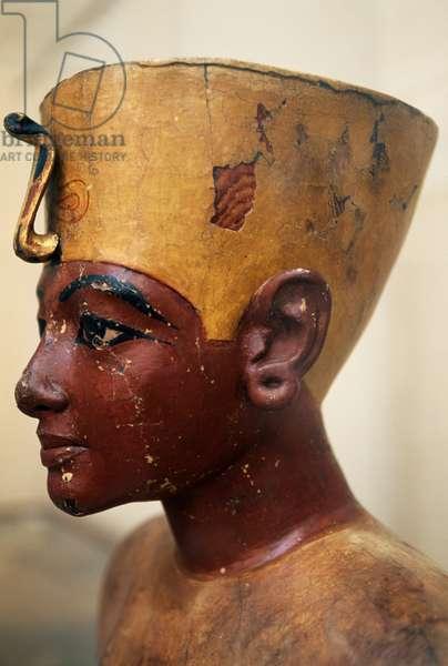 Head of Tutankhamun in painted wood, from the Tomb of Tutankhamun, Egyptian civilization, Dynasty XVIII