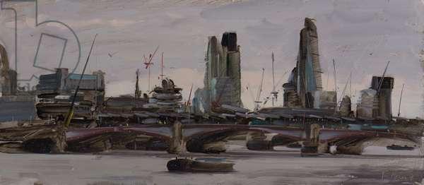 The city from Waterloo Bridge, stormy skies, February