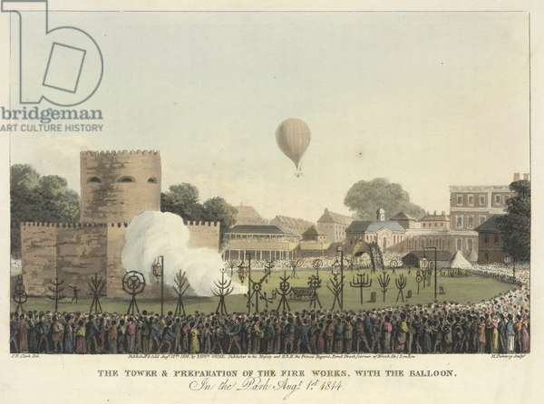 James Sadler making an ascent in a balloon for the opening of the Grand Jubilee celebrations on 1 August, 1814.