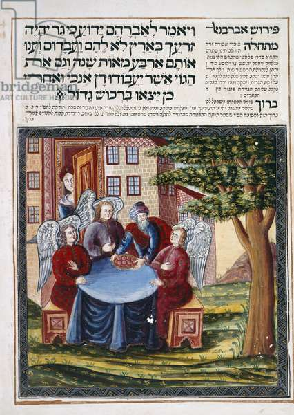 Sloane 3173, fol.8v Abraham's hospitality to the angels, from 'Leipnik Haggadah', 1740 (vellum)
