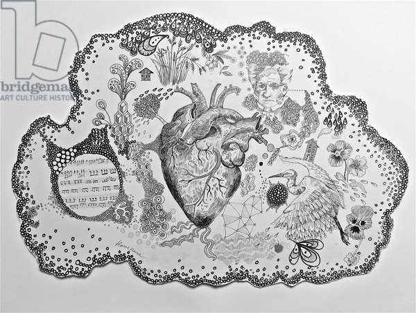 Thought Bubble Heart, 2016, (pen & pencil on card)