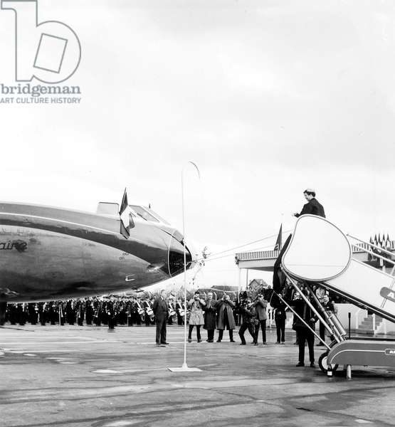 Naming Ceremony For The Caravels of Air France at Orly Airport March 24, 1959 : Yvonne De Gaulle Ceremonially Launches The Plane Lorraine With Champagne (b/w photo)