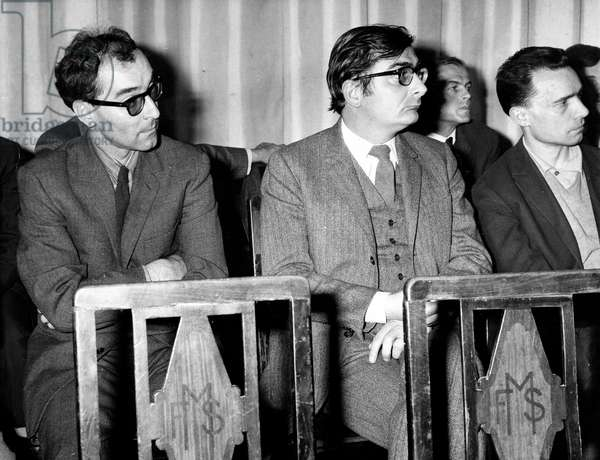 French Movie Directors Attending Meeting Against Censorship in France : Jean-Luc Godard, Claude Chabrol and Jacques Rivette April 27, 1966 (b/w photo)