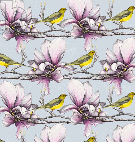 Magnolia and Yellow Wagtails, 2019 (watercolour, pen)
