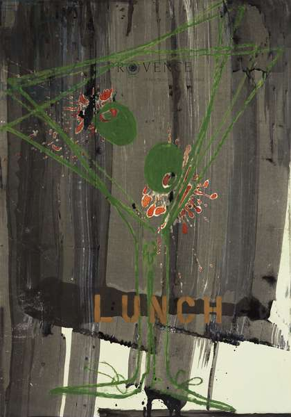 Lunch, 2008 (mixed media on w/c paper mounted on panel with recipe on verso)