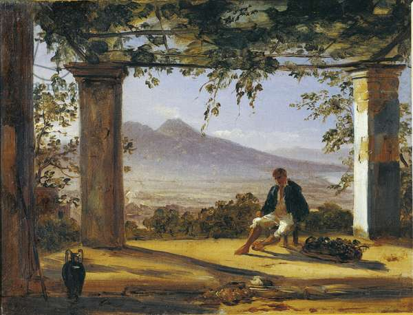 Italy, Under an arbor with Mount Vesuvius in background by Antoon Sminck van Pitloo