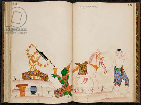 Siddharte cutting off his hair to enter the life of an scetic while his servant Channa takes his clothes and horse back to the palace, scene from the Thai version of the life of the Buddha.