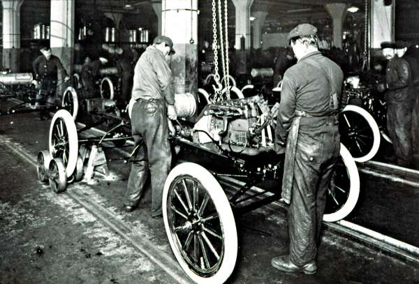 FORD MOTOR COMPANY in the early 1900'S, showing the assembly line.
