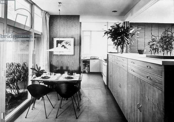 Interior of house of Walter Gropius in Lincoln (Massachussetts) by Walter Gropius et Joseph Breuer 1938 (Bauhaus style)