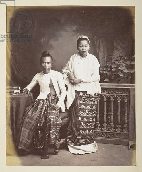 Portrait of a Burmese man and wife, Photographer: Klier, Philip Adolphe Gladstone Collection, 1880's