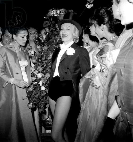 Marlene Dietrich After her Show at The Olympia in Paris April 26, 1962 (b/w photo)