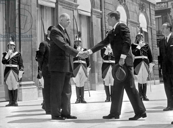 American President John Kennedy in Paris here at Elysee Palace with French President de Gaulle May 31, 1961, photo Pool