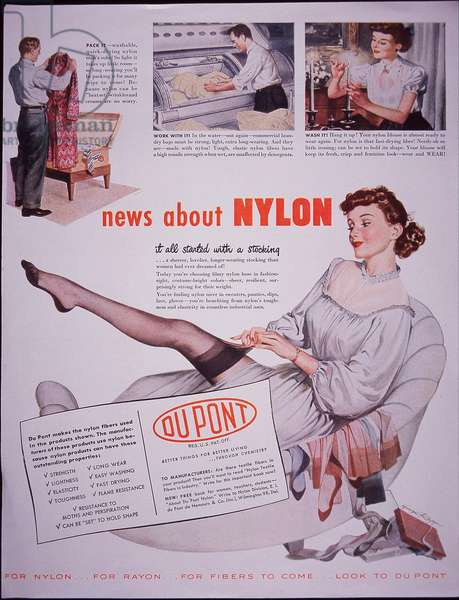 Advert: Nylon stockings produced by Du Pont, 1948 (colour litho)
