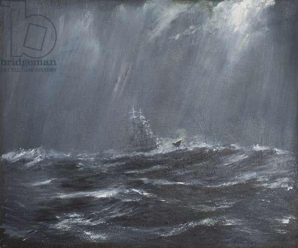 Gneisenau in a Storm North Sea 1940, 2006  (oil on canvas)