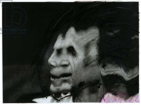 Maximilian Schell (from the series Fest Spieler), 2001 (mixed media over b/w photo)