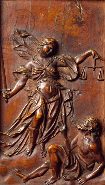 Allegory of Justice, detail of confessional made by Andrea Fantoni (1659-1734), Santa Maria Maggiore Basilica, Bergamo, Italy, 18th century