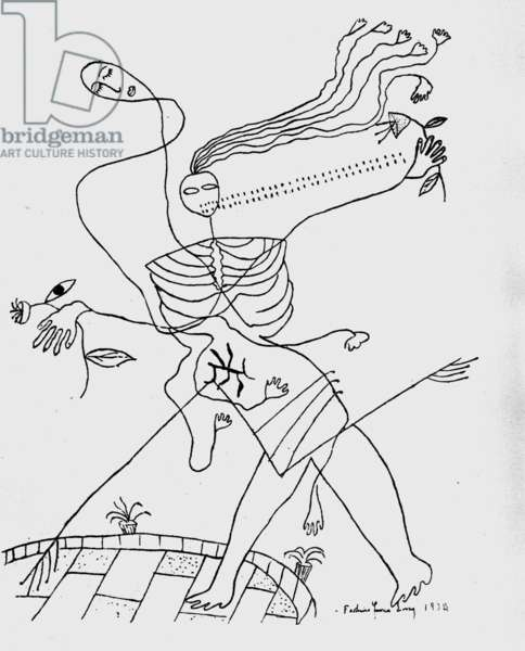 The death, drawing by Federico Garcia Lorca for