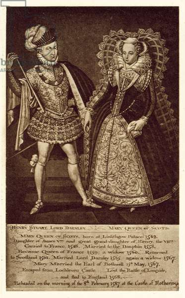 Henry Stuart Lord Darnley, Mary Queen Of Scots (litho)