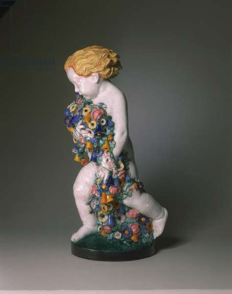Figure of Spring, made by Wiener Keramik, Vienna, 1912 (glazed earthenware)