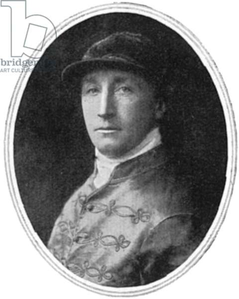 WOMEN'S RIGHTS: JOCKEY 1913 Herbert Jones, the jockey of King George V's horse, who along with the animal received minor injuries, when the militant suffragette Emily Wilding Davison, who died of her injuries, threw herself under them at the race for the Derby 4 June, 1913. Photograph from a contemporary English newspaper.