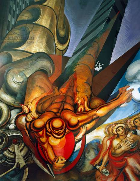Man (Prometheus) coming down from the sky towards large buildings, by David Alfaro Siqueiros (1896-1974), detail from the fresco in the vestibule of the auditorium of La Raza National Medical Centre, Mexico City. Mexico, 20th century.