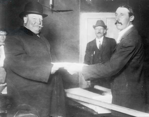 President William Taft (1857-1930) voting in 1912, when the divided Republican lost the Presidency to Democratic Woodrow Wilson