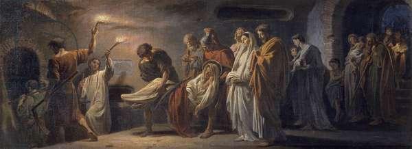 The funeral of St Lawrence, preparatory sketch for the fresco in the Basilica of San Lorenzo fuori le mura, 1868, by Francesco Grandi (1831-1891).