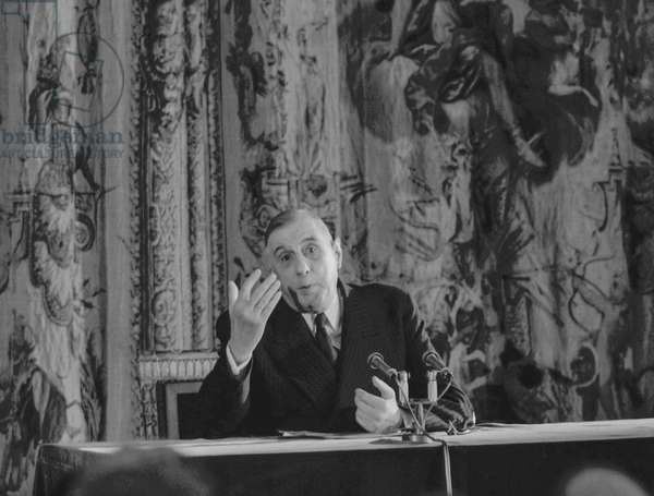 French president Charles de Gaulle during a press conference at the Elysee, Paris, March 25, 1959 (b/w photo)