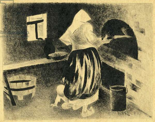 Baking Bread, 1925 (litho)