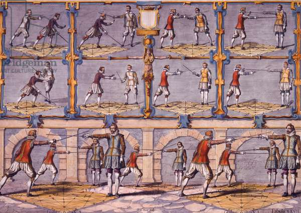 Fencing, from 'Academie de l'Espée' by Girard Thibault, published 1628 (coloured engraving)