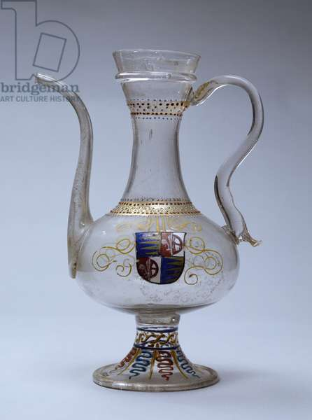 Venetian glass jug decorated with polychrome enamel, Venice, Italy, 16th century