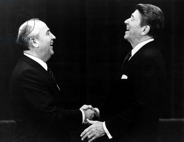 Soviet Premier Mikhail Gorbachev shaking hands with U.S. President Ronald Reagan in the 1980s