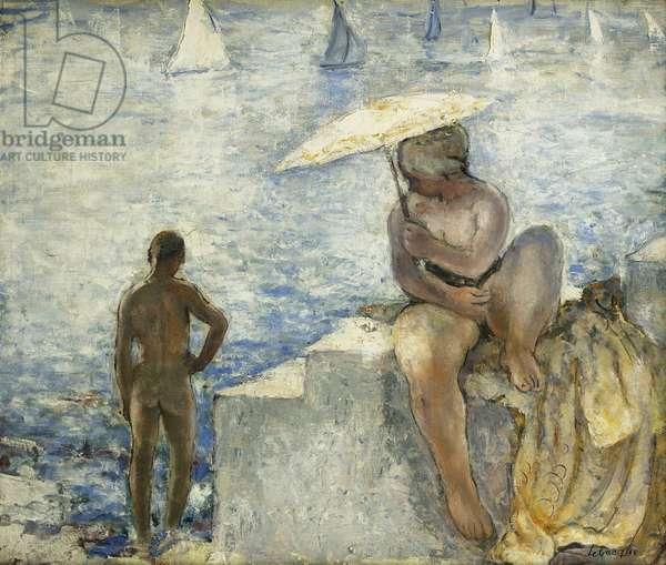 A Young Swimmer with a Parasol; La Jeune Baigneuse au Parasol, c. 1925-1930 (oil on canvas)